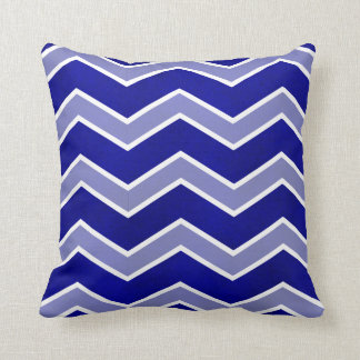 Intense Blue Watercolor Wash Large Chevron Pillow