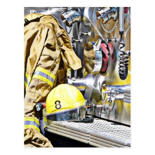 Intense - Fireman Gear and Fire Truck Post Card