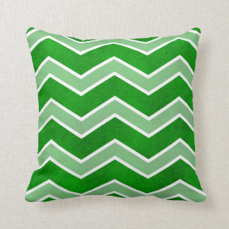 Intense Green Watercolor Wash Large Chevron Pillow