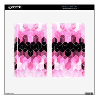 Intense Pink & Black Geometric Design Decals For Kindle Fire