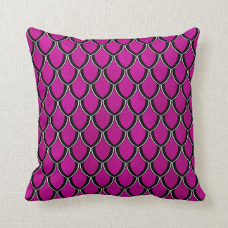 Intense Pink Dragon Scale Watercolor Wash Pillow