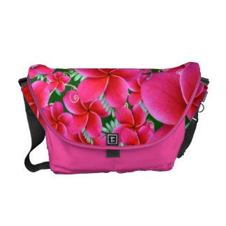 Intense Pink Flowers Rickshaw Medium  Messenger Messenger Bag