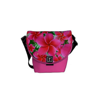 Intense Pink Flowers Rickshaw Mini Zero Messenger Courier Bag