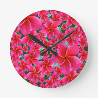 Intense Pink Flowers Round Clock