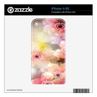 Intense Pink Flowers Skin For iPhone 4