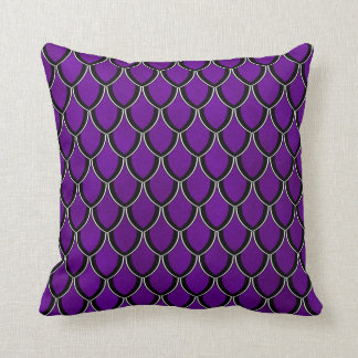 Intense Purple Dragon Scale Watercolor Wash Pillow
