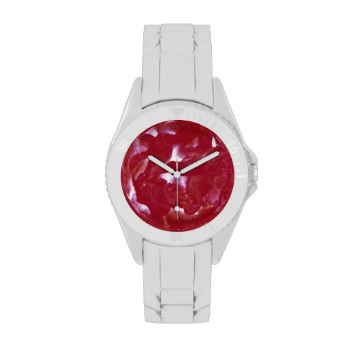 intense rose abstract on white sport watch