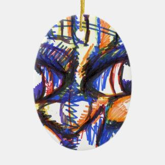 Intense Spirit Feline Double-Sided Oval Ceramic Christmas Ornament