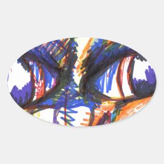 Intense Spirit Feline Oval Sticker
