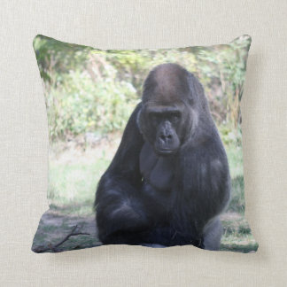 Intense stare gorilla throw pillow