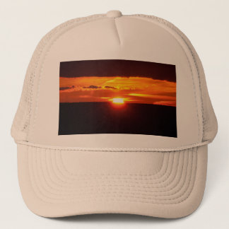 Intense sunset trucker hat
