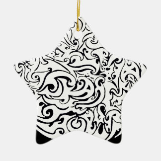 intensity white on black Double-Sided star ceramic christmas ornament