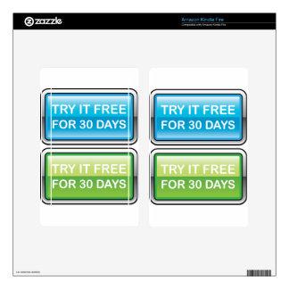 Inténtelo libremente para el botón de 30 días kindle fire pegatinas skins