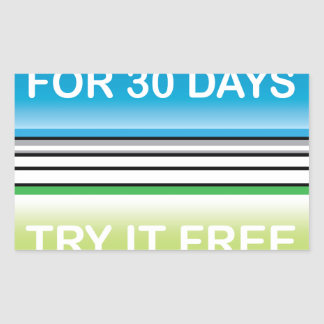 Inténtelo libremente para el botón de 30 días pegatina rectangular