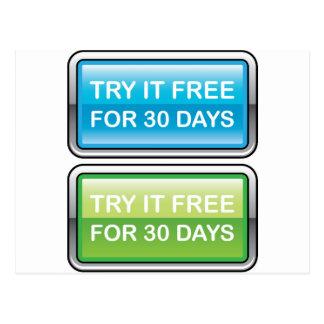 Inténtelo libremente para el botón de 30 días postal