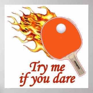 Inténteme ping-pong llameante póster