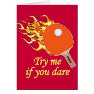 Inténteme ping-pong llameante tarjeta pequeña