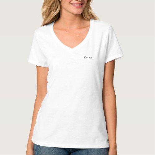 Intention Create White V Neck T_Shirt