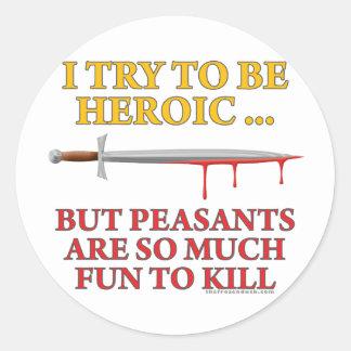 Intento ser heroico etiqueta redonda
