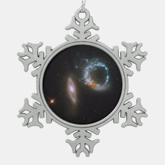 Interacting Galaxies Arp 147 Snowflake Pewter Christmas Ornament