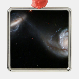 Interacting Galaxy Pair Arp 87 Square Metal Christmas Ornament
