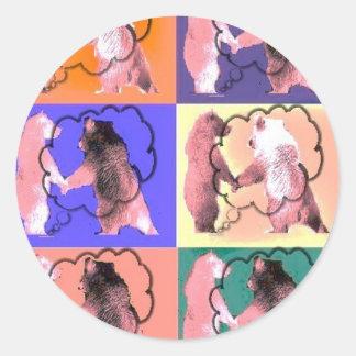 Interactive Bear pink bear design Stickers