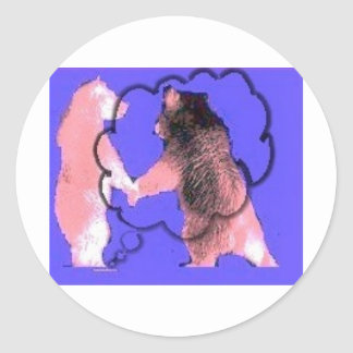 Interactive Bear purple bears with clouds design Round Stickers