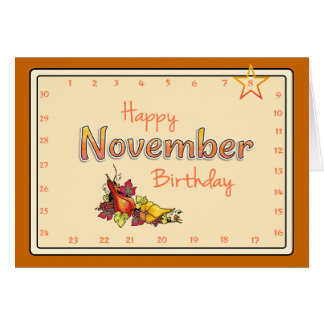 Interactive 'Move the Star' NOVEMBER Birthday Card