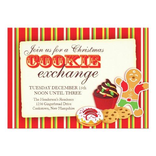 Intercambio de la galleta del navidad y invitación
