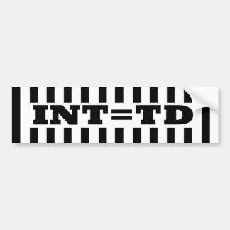 Interception  Equals Touchdown - Replacement Refs Bumper Sticker