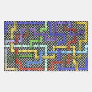 Interconnectable Endless Puzzle Grid Design Rectangular Sticker