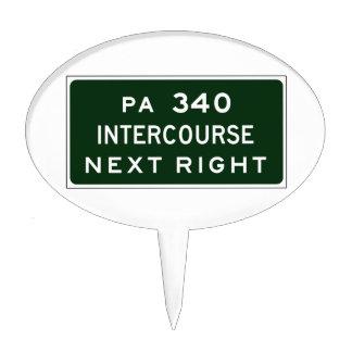 Intercourse, Road Marker, Pennsylvania, USA Cake Topper