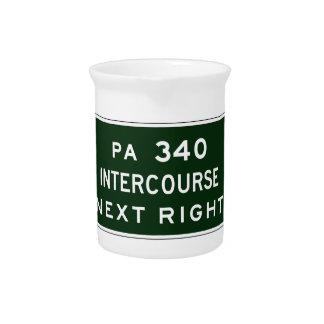 Intercourse, Road Marker, Pennsylvania, USA Drink Pitcher