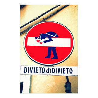 Interesting and funny street sign in Florence Stationery