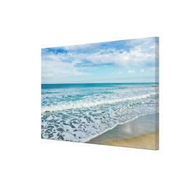 Art Themed Interesting Clouds and Waves at the Beach Canvas Print