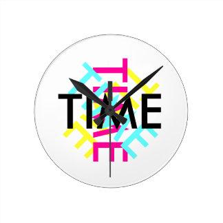 Interesting CYMK rotating time keeper (clock) Round Clock