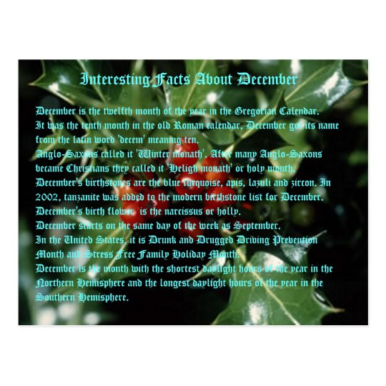 Interesting Facts About December Postcard