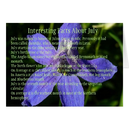 Interesting Facts about July Greeting Card