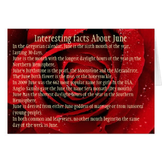Interesting facts About June, Card