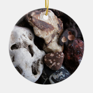 Interesting Rocks from Lake Michigan Shore Double-Sided Ceramic Round Christmas Ornament