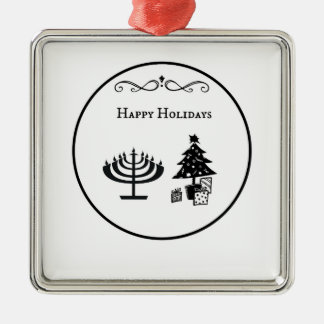 Interfaith Happy Holidays Circle Design Metal Ornament