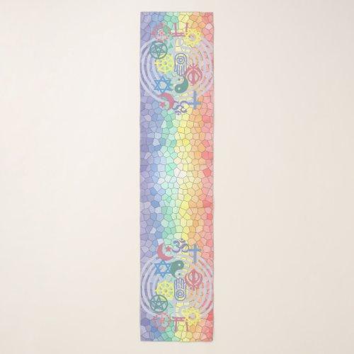Interfaith Minister Stole (Stained Glass Rainbow)  Scarf