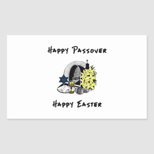 Interfaith Passover and Easter Rectangular Sticker