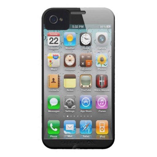 interfaz de la pantalla del iPhone 4 que busca el  Case-Mate iPhone 4 Coberturas