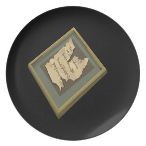 Interferencia: manuscrito rasgado artefacto platos