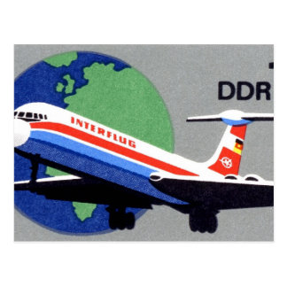 INTERFLUG - National Airline of DDR, East Germany Post Card