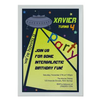 Intergalactic Birthday Party, Metallic Invitations