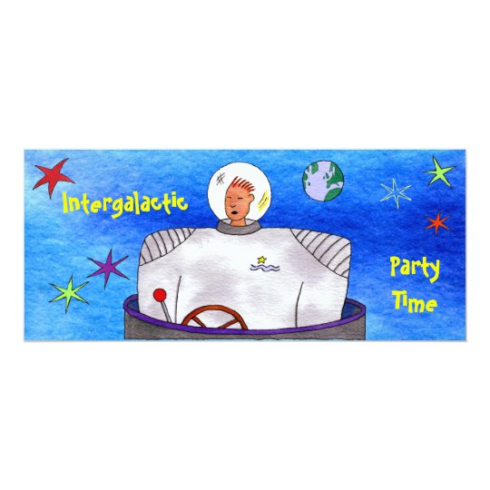 Intergalactic Party Time TinCan SpaceMan Card