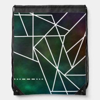 Intergalactic SOS Trendy Geometric Pattern Drawstring Bag