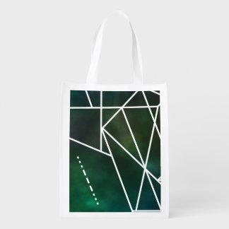 Intergalactic SOS Trendy Geometric Pattern Grocery Bag